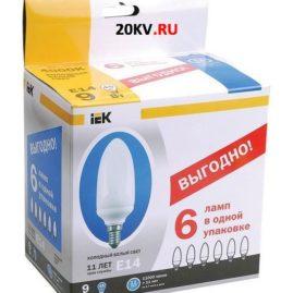Лампа свеча КЭЛ-C Е27 11Вт 2700К ПРОМОПАК 6 шт ИЭК